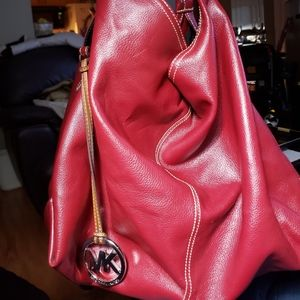 Michael Kors Red Leather Large Slouch Bag